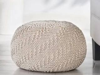 Barwick Indoor And Outdoor Knitted Round Pouf by Christopher Knight Home  Retail 76 48