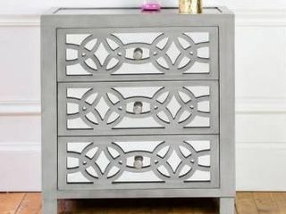 Silver Orchid Fonda Glam Slam 3 Drawer Mirror Chest   Retail 258 00