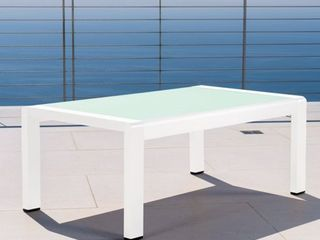 Cape Coral Outdoor Aluminum Tempered Glass Rectangle Coffee Table by Christopher Knight Home  Retail 148 49
