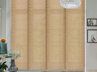 GoDear Design Natural Woven Adjustable Sliding Panel Pecan 45 8  86  W x 96  l  Retail 124 49
