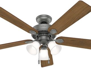 Hunter Swanson Ceiling Fan Matte Silver 3 light 52 inch Retail   89 99