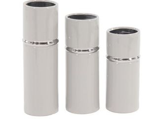 The Curated Nomad Dinah 3 piece Modern Ceramic Cylindrical Gray Vase Set  2 VASES ONlY  Retail   76 39