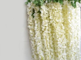 Artificial Silk White Wisteria Flower vine   100pc  Retail 125 99