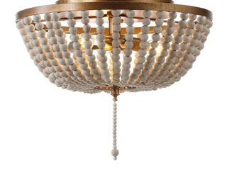 Allison 15  Wood Beaded Metal lED Flush Mount by JONATHAN Y  Retail 146 11