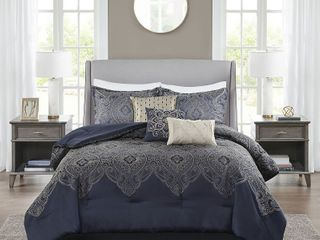 Madison Park Ingrid Navy 7 Piece Jacquard Comforter Set  Retail 114 49