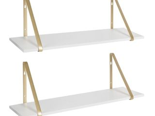 Kate and laurel Soloman 2 Wood Shelves w  Metal Brackets Retail   59 99