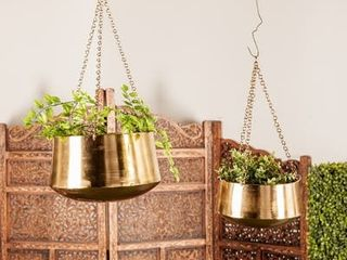 Set of 2 Modern 5 and 7 Inch Round Gold Hanging Planters by Studio 350 Retail   52 19