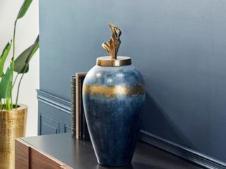 Textured Blue and Gold Aluminum and Hand Crafted Glass lidded Vase  10  x 23    10 x 10 x 24  Retail 144 99