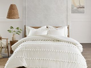 Madison Park Tracie Pom Pom Cotton Comforter Set  Retail 112 49