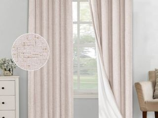 PrimeBeau linen Blended 100  Blackout Waterproof Coating Thermal Insulated Curtains WHITE 108   2 Panels  Retail 84 99
