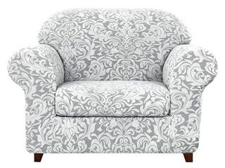 Subrtex 2 Piece Stretch Armchair Couch Cover Jacquard Damask Slipcover Retail   42 48