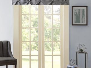 Hudson Pintuck Window Curtain Valance 60  x 12  Grey Retail   23 74
