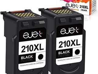 ejet Remanufactured Ink Cartridge Replacement for Canon 210Xl PG 210Xl PG 210Xl  Used with PIXMA IP2702 MP230 MP240 MP250 MP280 MP480 MP490 MP495 MP499 MX320 MX330 MX340 Printer  2 Black