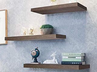 Kosiehouse Rustic Wood Floating Shelves  Wall Mounted Shelf Hanging Wall Decorative Shelves Display ledge Storage Rack  NOT Recommended for Plaster Wall Dry wall etc    Set of 3