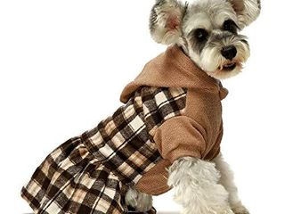 Fitwarm Knitted Plaid Dog Dress Hoodie Sweatshirts Pet Clothes Sweater Coats Cat Outfits Brown Small