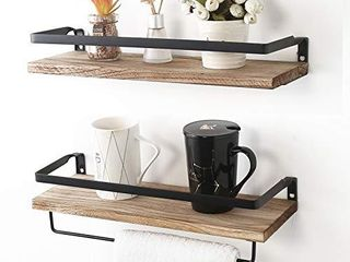 AUTREE Rustic Floating Wall Shelves  Rustic Wood Wall Shelves Storage Set of 2 for Bedroom living Room Bathroom  Kitchen Carbonized Black