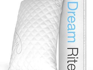 Dream Rite Shredded Hypoallergenic Memory Foam Pillow WonderSleep Series luxury Adjustable loft Home Pillow Hotel Collection Grade Washable Removable Cooling Bamboo Derived Rayon Cover  Queen 1 Pack