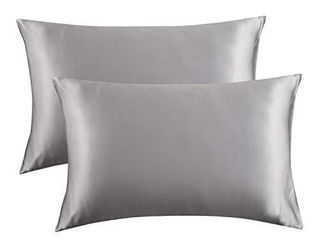 Bedsure Satin Pillowcase for Hair and Skin Silk Pillowcase 2 Pack  Queen Size  Silver Grey  20x30  Pillow Cases Set of 2   Slip Cooling Satin Pillow Covers with Envelope Closure