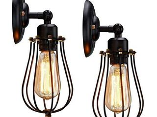 KingSo Rustic Wall Sconces 2 Pack  Wire Cage Wall Sconce  Black Hardwire Industrial Wall light Fixture  Vintage Style Wall lamp for Home Decor Headboard Bathroom Bedroom Farmhouse Porch Garage