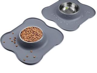 Vivaglory Small Dog Bowls Set  2 Pack Puppy Bowls with Non Spill Silicone Mat and Food Grade Stainless Steel Water and Food Feeding Bowl for Kitty Puppy Cat Dog