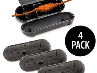 KOVOT Extension Cord Safety Cover Protectors 4 Pack  Black  Great Protection Against Rain   Snow  4