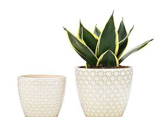 UooMay Ceramic Flower Pots Plants Containers   6 5 and 5 5  Planter Pot with Drainage Hole for Succulents  Flower and Plants  Indoor or Outdoor  Set of 2