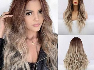 Piaou Ombre Brown to Ash Blonde Wigs long Synthetic Wave Wigs for Women Heat Resistant Hair Wigs Natural looking Wavy Wig  Brown to Ash Blonde