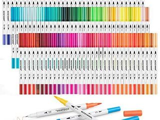 Mogyann 100 Colors Dual Tip Brush Markers  Fine Tip Coloring Markers For adult Journal Writing Coloring and Calligraphy Drawing