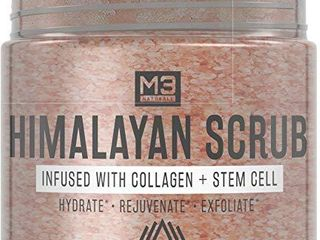 M3 Naturals Himalayan Salt Body Scrub Infused with Collagen and Stem Cell   Natural Exfoliating Salt Scrub for Acne  Cellulite  Deep Cleansing  Scars  Wrinkles  Exfoliate and Moisturize Skin 12 oz