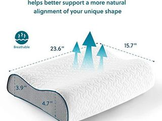 Bedsure Contour Memory Foam Pillow   Ergonomic Cervical Pillows for Neck Pain  Neck Support for Back  Side Sleepers   Gel Infused Bed Pillows with Washable Zippered Cover
