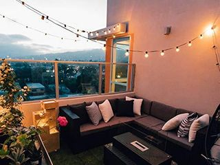 Outdoor String lights 25 Feet G40 Globe Patio lights with 26 Edison Glass Bulbs 1 Spare  Waterproof Connectable Hanging lights for Backyard Porch Balcony Party Decor  E12 Socket Base  Black