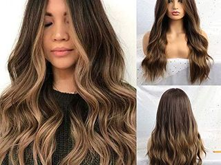 24   Ombre Brown Wig Synthetic long Wigs for Women Natural Wave Hair Wigs Middle Part Heat Resistant Natural looking Wigs