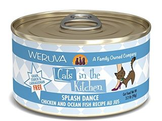 Weruva Cats in the Kitchen  Splash Dance with Chicken   Ocean Fish Au Jus Cat Food  3 2oz Can  Pack of 24