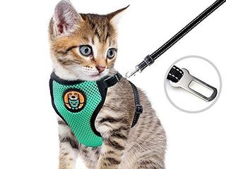 AWOOF Reflective Kitten Harness and leash Escape Proof with Car Seat Belt  Adjustable Cat Puppy Walking Jacket with Metal leash Ring  Soft Breathable Small Pet Vest  S