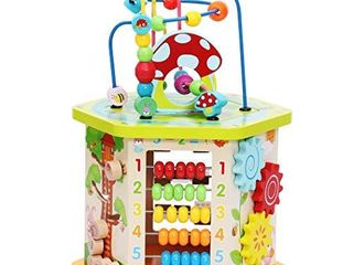 lAVIEVERT 9 in 1 Play Cube Activity Center Multifunctional Bead Maze Toddler Educational Toys Game