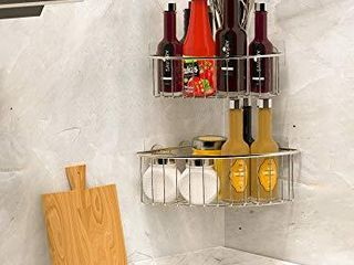 SMARTAKE 2 Pack Corner Shower Caddy Deep Basket Design  SUS304 Stainless Steel  Wall Mounted Bathroom Shelf with Adhesive  Storage Organizer for Toilet  Dorm and Kitchen  Silver