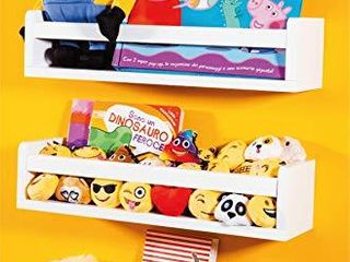 Set of 3 White Nursery Room Shelves   Solid Wood Ideal for Books  Toys and Decor