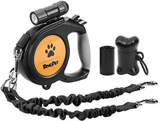 Dual Retractable Dog leash   26ft Heavy Duty Double Head lockable Extendable Pet leash with lED Flashlight  Poop Bags  Reflective Elastic Rope   360 Tangle Free for Dogs Walking  Up to 110 lbs