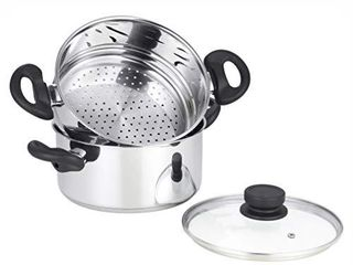 mockins 3 Piece Premium Heavy Duty Stainless Steel Steamer Pot Set Includes 3 Quart Cooking Pot   2 Quart Steamer Insert and Vented Glass lid   Stack and Steam Pot Set for All Cooking Surfaces