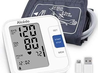 Alcedo Blood Pressure Monitor Upper Arm  Automatic Digital BP Machine with Wide Range Cuff for Home Use  lCD Screen  2x120 Memory  Talking Function