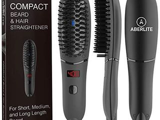 Aberlite Pocket   Compact Beard Straightener for Men   For Short Beard   long Beard   Beard Straightening Heat Brush Comb Ionic   For Home and Travel