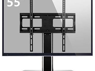 Universal TV Stand Base Replacement with Swivel Mount for 27 32 37 40 42 46 50 55  lCD lED Plasma Flat Screens  Height Adjustable Table Top Pedestal Center TV Stand with Black Tempered Glass Base