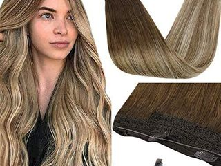 Sunny 18Inch Invisible Hair Extensions Halo Hair Human Hair Ombre Dark Brown Fading to Medium Browm with Blonde Fish line Wire Human Hair Extension 80g