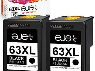 ejet Remanufactured Ink Cartridge Replacement for HP 63Xl 63 Xl  High Yield Work with OfficeJet 3830 4650 5255 Envy 4520 4512 4516 Deskjet 1112 3630 3634 3639 3632 2132 Printer  2 Black
