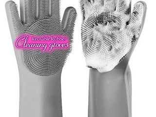 anzoee Reusable Silicone Dishwashing Gloves  Pair of Rubber Scrubbing Gloves for Dishes  Wash Cleaning Gloves with Sponge Scrubbers for Washing Kitchen  Bathroom  Car   More