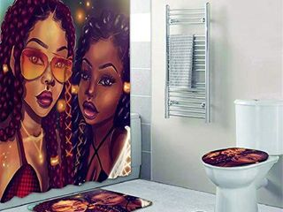 4 Pcs Sets Afro Black Twins Bathroom Rugs and mats Sets African American Women Bathroom Sets Black Girl Magic Shower Curtains with Toilet Pad Cover Bath Mat Shower Curtain Sets