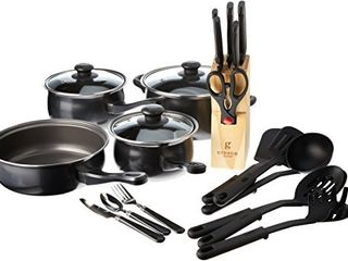 Gibson Home Back to Basics Carbon Steel Cookware Set  32 Piece