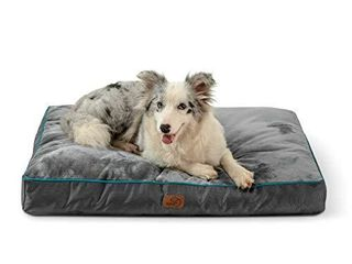 Bedsure Waterproof Dog Bed for large Dogs with Removable Washable Cover and Waterproof liner Up to 75lbs   Plush 4 inch Thick Fleece Top with Nonskid Bottom Pet Mat  Ideal for Crate or Kennel  Grey