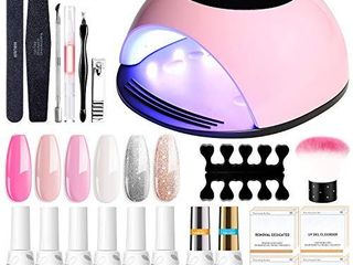 Gel Nail Polish Start Kit with 84W lED Nail lamp  Gel Nail Polish Kit 6 Colors Champagne Gold Snow White Nude 10Ml Gel Polish and No Wipe Top and Base Coat  Soak Off Gel Color Set Manicure Tools