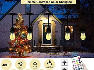 VAVOFO 48FT RGB Outdoor String lights  Dimmable lED Heavy Duty Hanging Patio String lights Outdoor Indoor  Commercial Grade  Waterproof  Wireless  Ul listed
